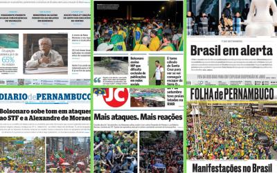 Análise: como foram as capas dos jornais impressos locais ao noticiar os atos do dia 7 de setembro